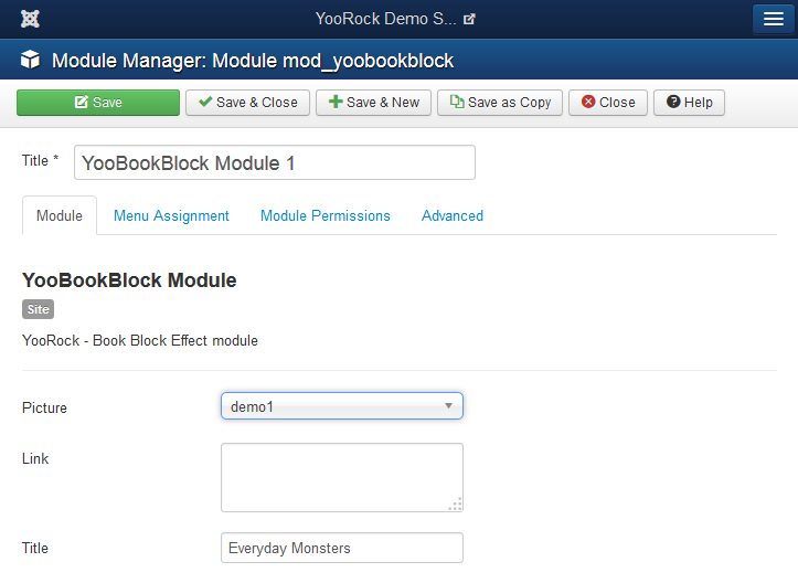 YooBookBlock module settings